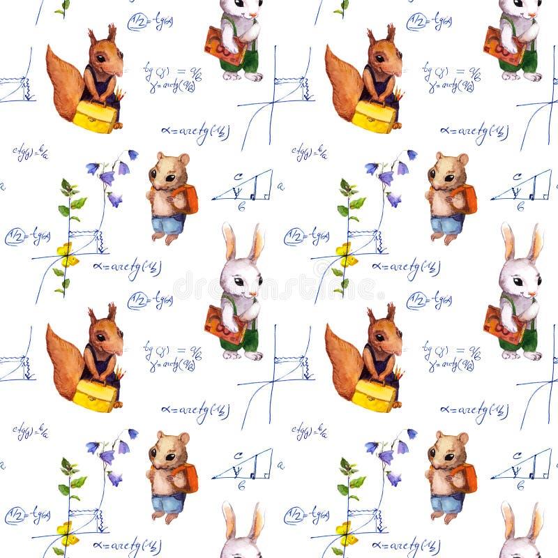 Bezszwowy szkoła wzór z zwierzętami, matematyki formuła, kwitnie akwarela royalty ilustracja