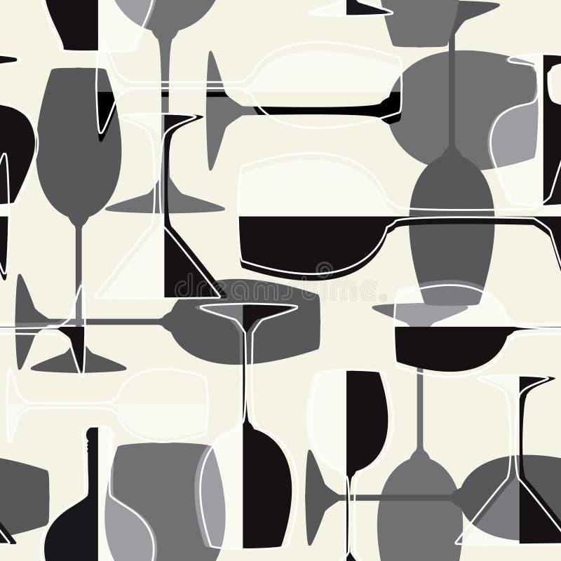 bezszwowy tła wineglass ilustracji