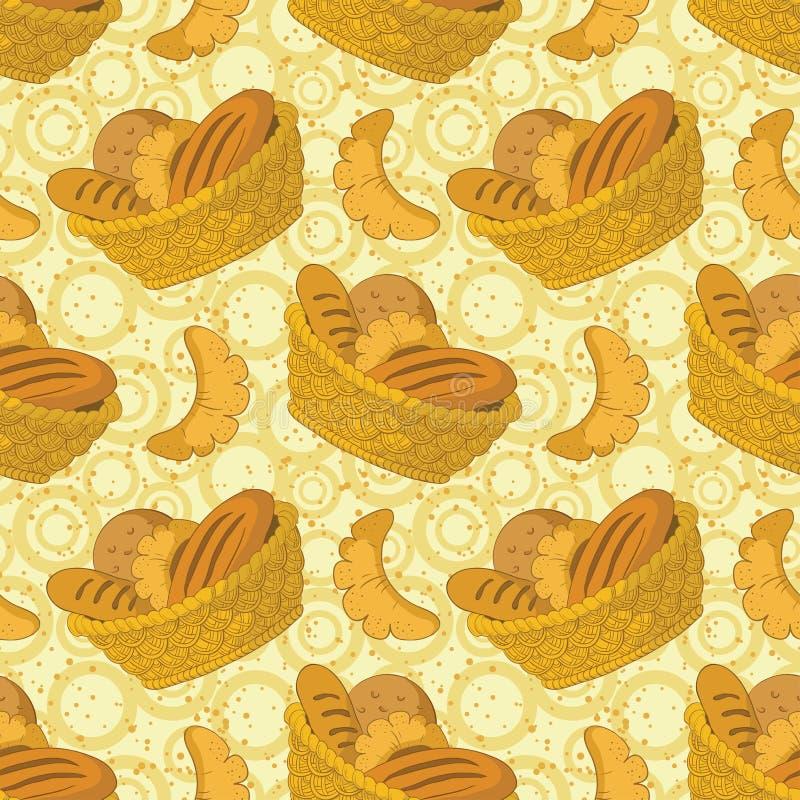 Bezszwowy tło, chleb w koszu ilustracja wektor