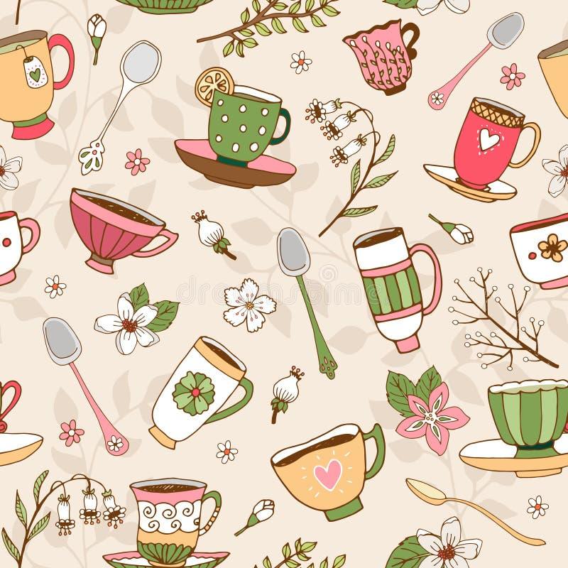 Bezszwowy tło herbaciane filiżanki i łyżki royalty ilustracja