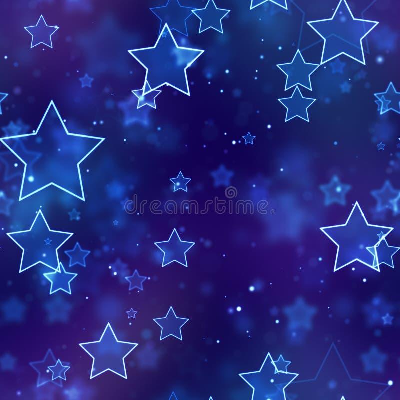 Bezszwowy tło jarzy się błękitne neonowe gwiazdy royalty ilustracja