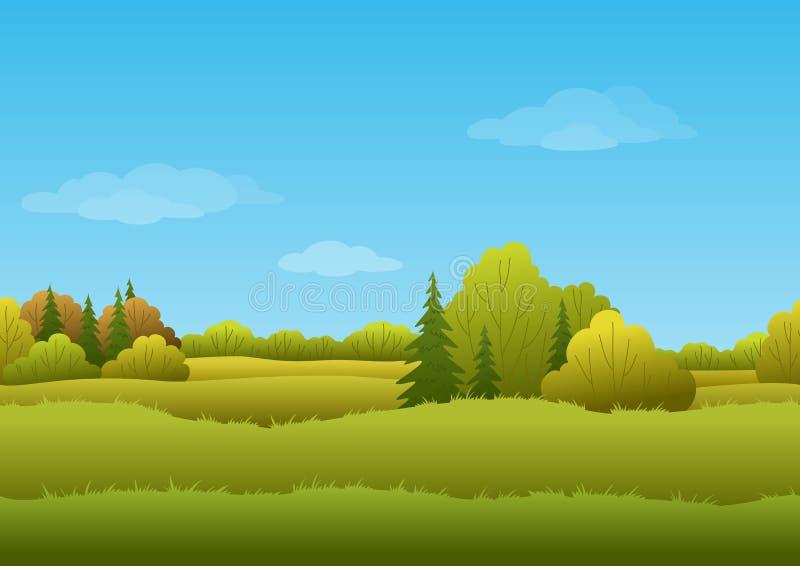 Bezszwowy tło, jesień krajobraz royalty ilustracja