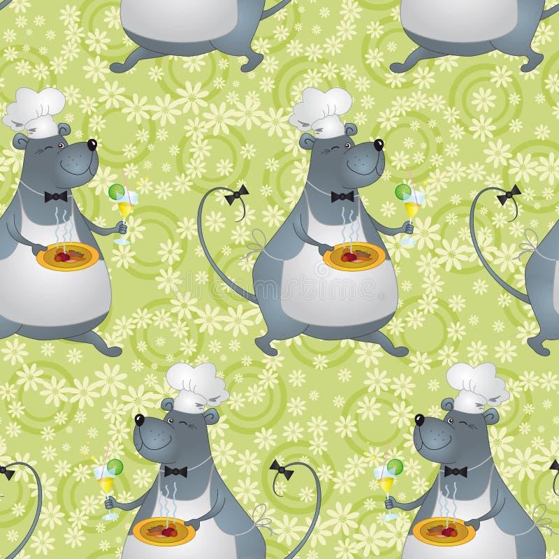 Bezszwowy tło, kreskówka szczura kucharz ilustracja wektor
