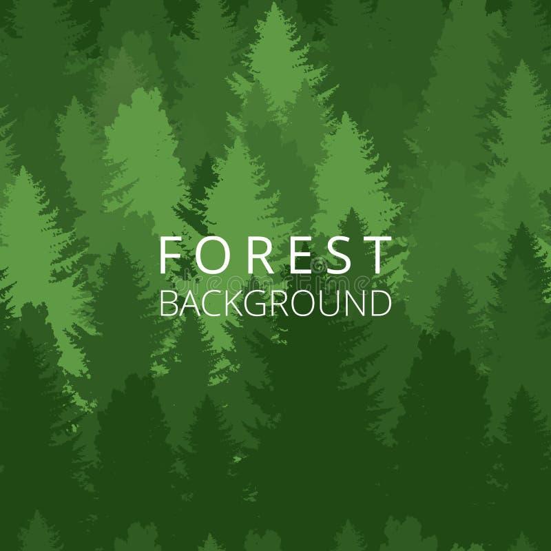 Bezszwowy tło, las z drzewo sylwetkami ilustracja wektor