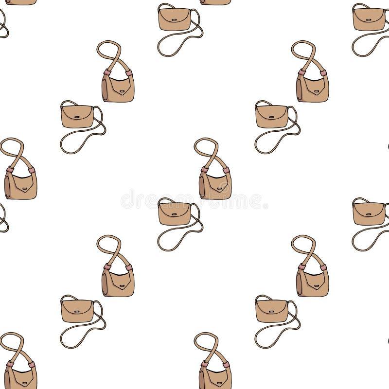 Bezszwowy tło mod kobiet torby royalty ilustracja