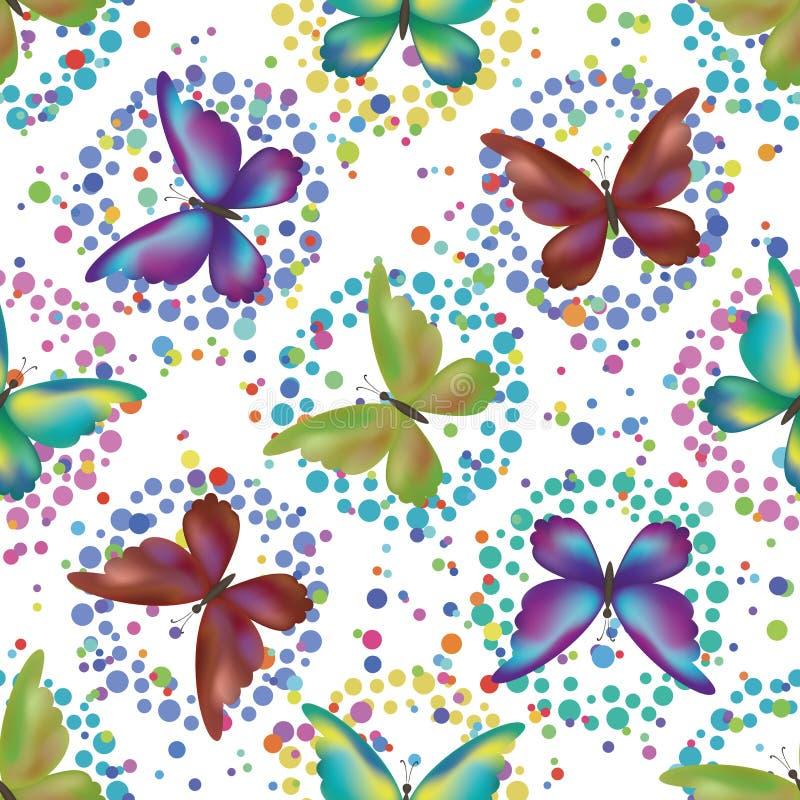 Bezszwowy tło, motyle royalty ilustracja