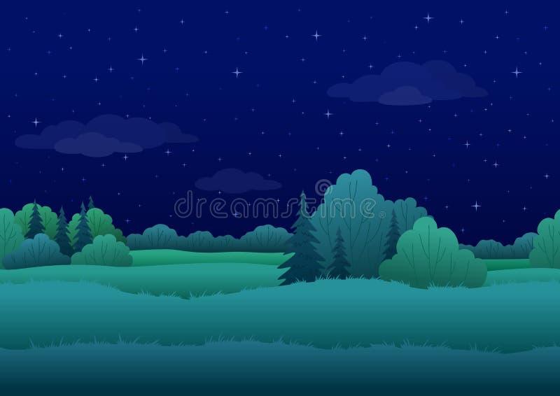Bezszwowy tło, noc krajobraz ilustracja wektor