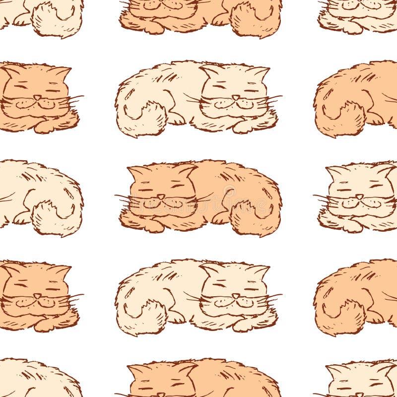 Bezszwowy tło patroszeni sypialni koty ilustracji