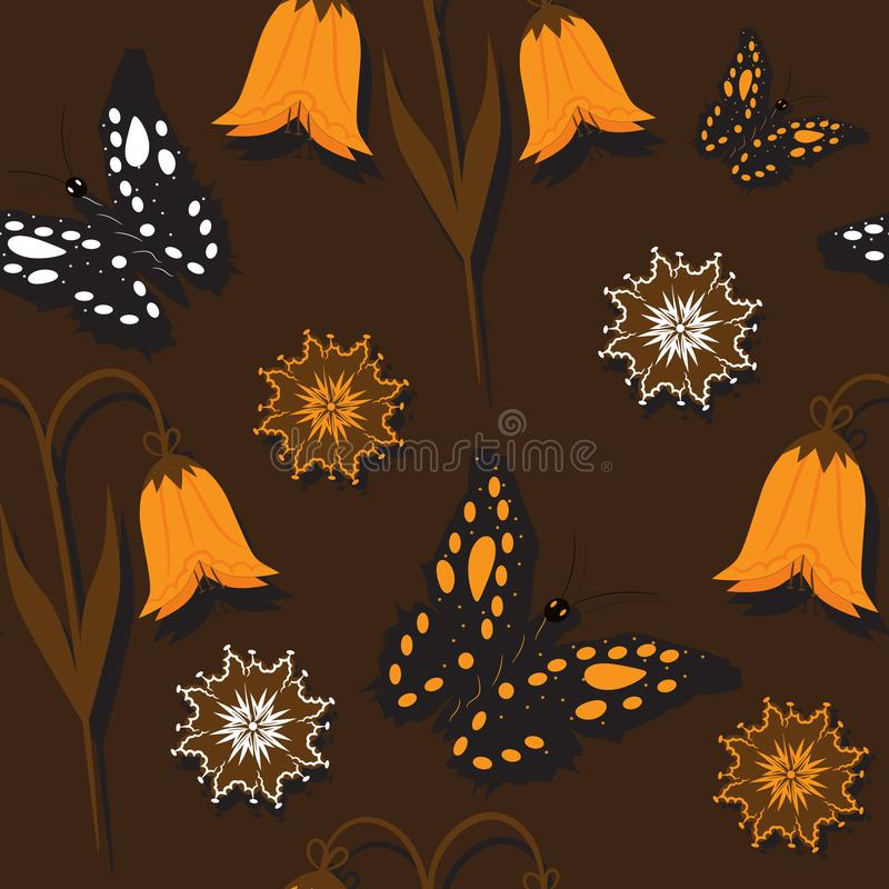 Bezszwowy tło pomarańcze motyle i kwiaty ilustracja wektor