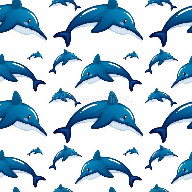 Bezszwowy tło projekt z błękitnymi delfinami ilustracja wektor