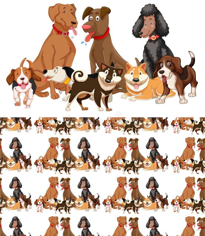 Bezszwowy tło projekt z dużo psy royalty ilustracja