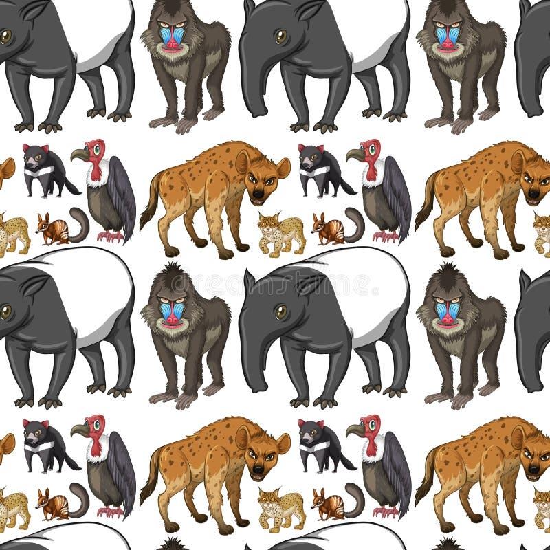 Bezszwowy tło projekt z dzikimi zwierzętami ilustracja wektor