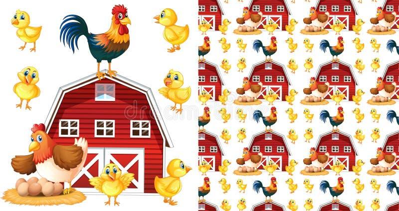 Bezszwowy tło projekt z kurczakami i stajnią ilustracja wektor
