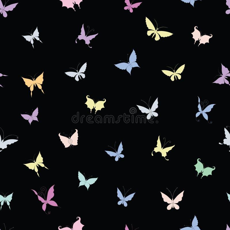 Bezszwowy tło sylwetki różnorodni dekoracyjni motyle ilustracja wektor