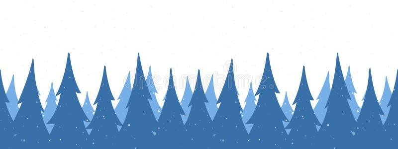 Bezszwowy tło Szablon Bożenarodzeniowy powitanie sztandar z zima śnieżnym sosnowym lasem na białym tle royalty ilustracja
