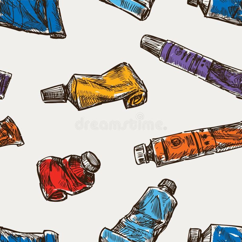 Bezszwowy tło tubki sztuki farba ilustracja wektor