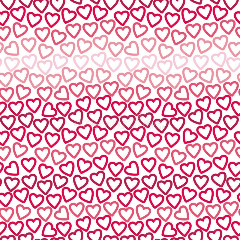 Bezszwowy tło wiele kontury czerwieni i menchii serca tworzy openwork wzór fotografia royalty free