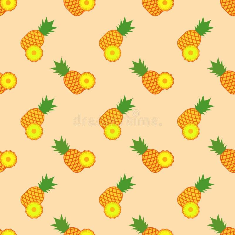 Bezszwowy tło wizerunku tropikalnej owoc kolorowy ananas ilustracja wektor