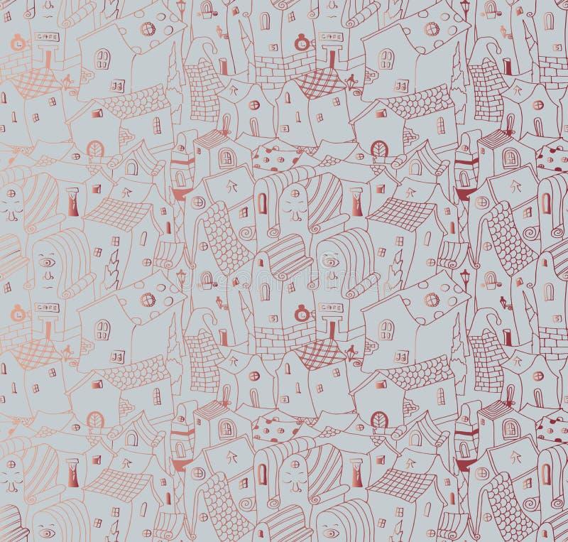 Bezszwowy tło wzór śliczny miasto ilustracji