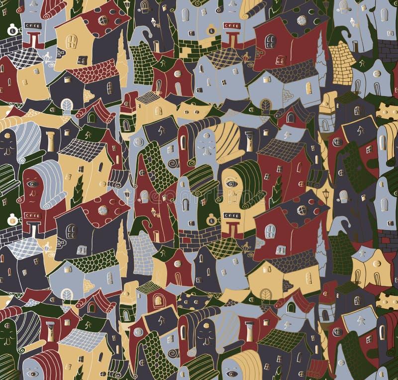 Bezszwowy tło wzór śliczny miasto ilustracja wektor