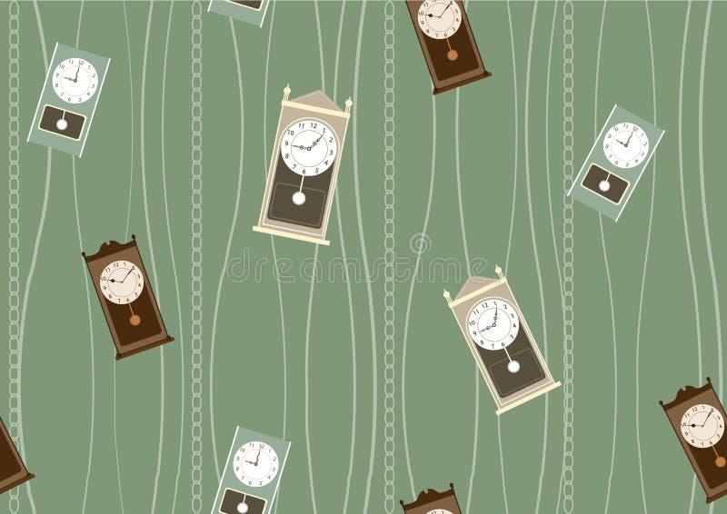 Bezszwowy tło wzór retro i nowożytni zegary, Wektorowe ilustracje royalty ilustracja