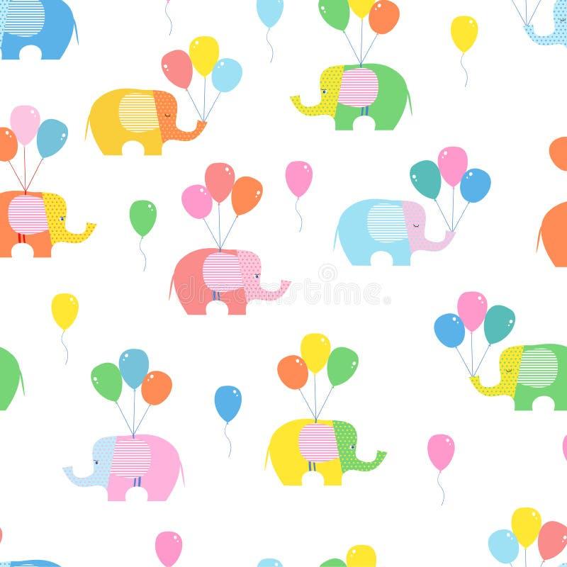 Bezszwowy tło, wzór z jaskrawymi słoniami i balony na białym tle, ilustracja wektor