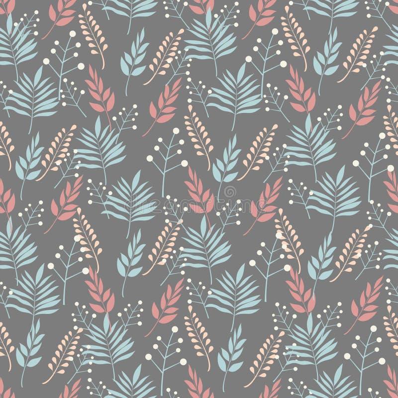 Bezszwowy tło wzory roślina opuszcza i rozgałęzia się liście w pastelowych colours na tle grafit royalty ilustracja