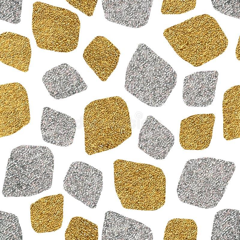 Bezszwowy tło złota i srebna mozaika royalty ilustracja