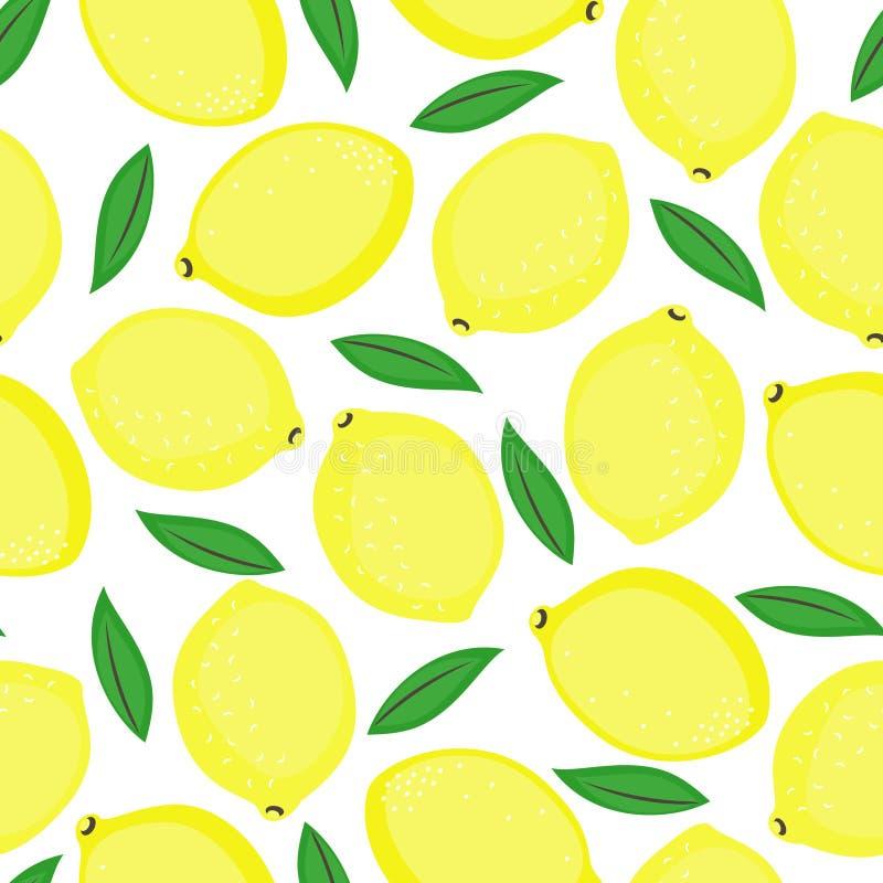 Bezszwowy tło z żółtymi cytrynami i zieleń liśćmi ilustracji