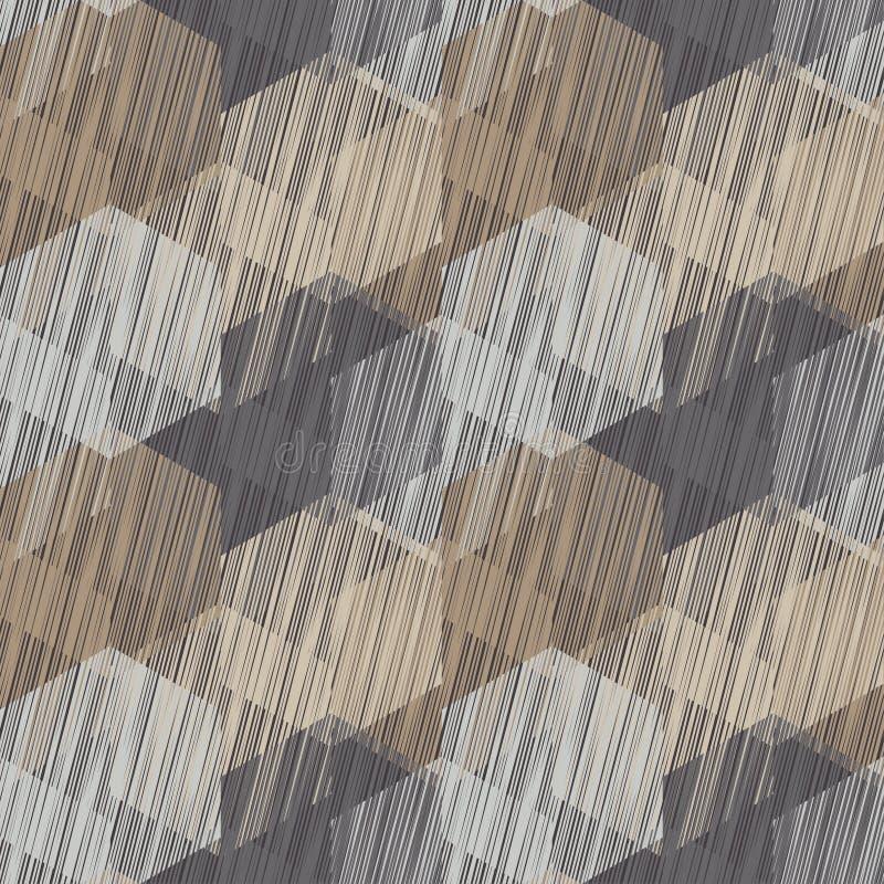 Bezszwowy tło z abstrakcjonistycznym geometrycznym wzorem Skrobaniny tekstura ilustracja wektor