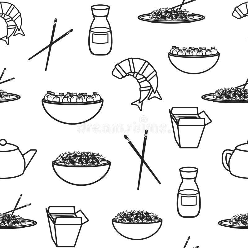 Bezszwowy tło z chińskim jedzeniem ilustracji