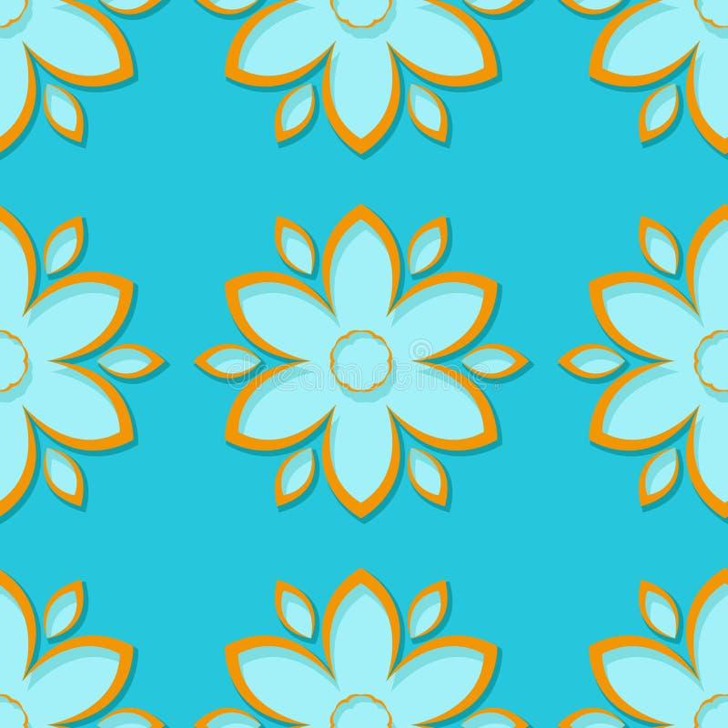 Bezszwowy tło z 3d błękitnymi i pomarańczowymi kwiecistymi elementami royalty ilustracja
