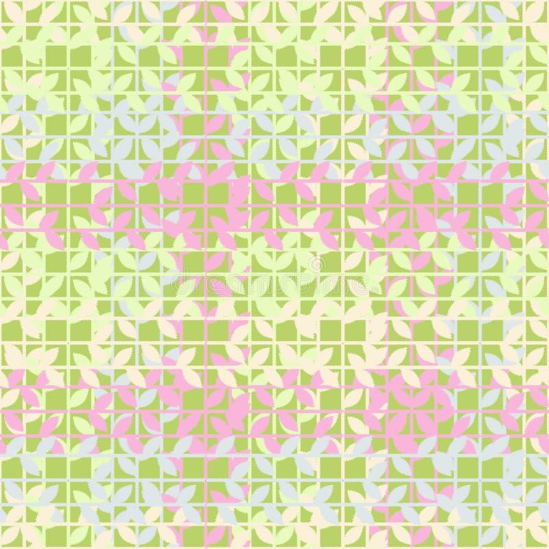 Bezszwowy tło z dekoracyjnymi liśćmi brushwork Ręki kluć się Skrobaniny tekstura ilustracji