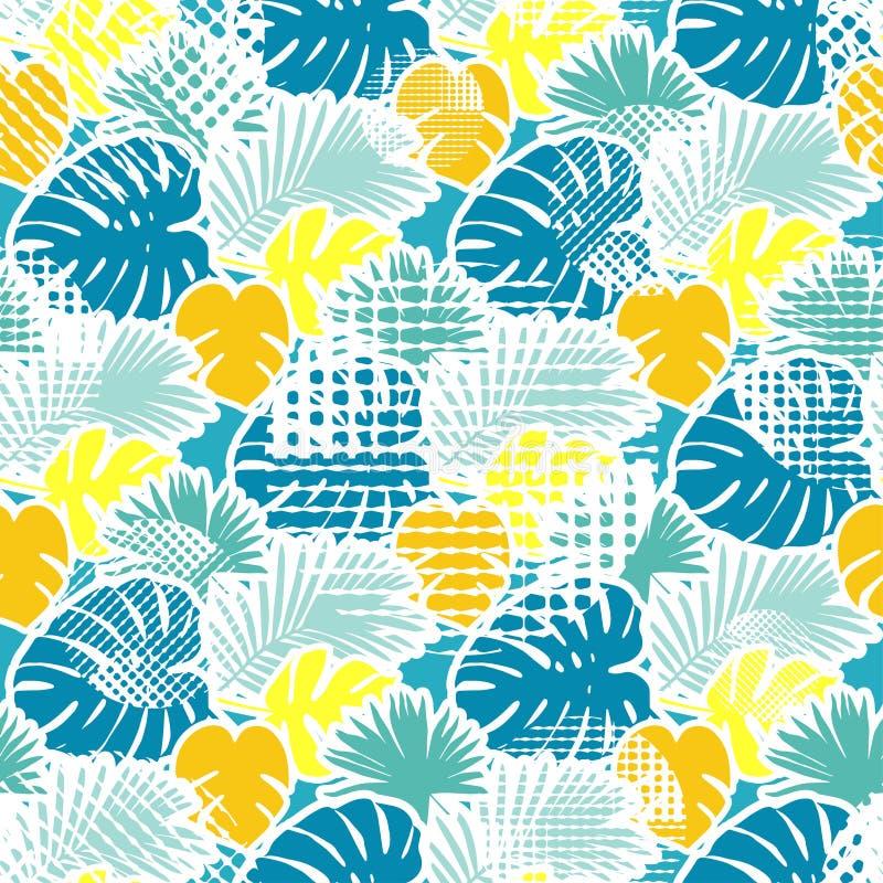 Bezszwowy tło z dekoracyjnymi liśćmi opuszczać palmy tropikalny Tropikalna dżungla punkty ilustracja wektor