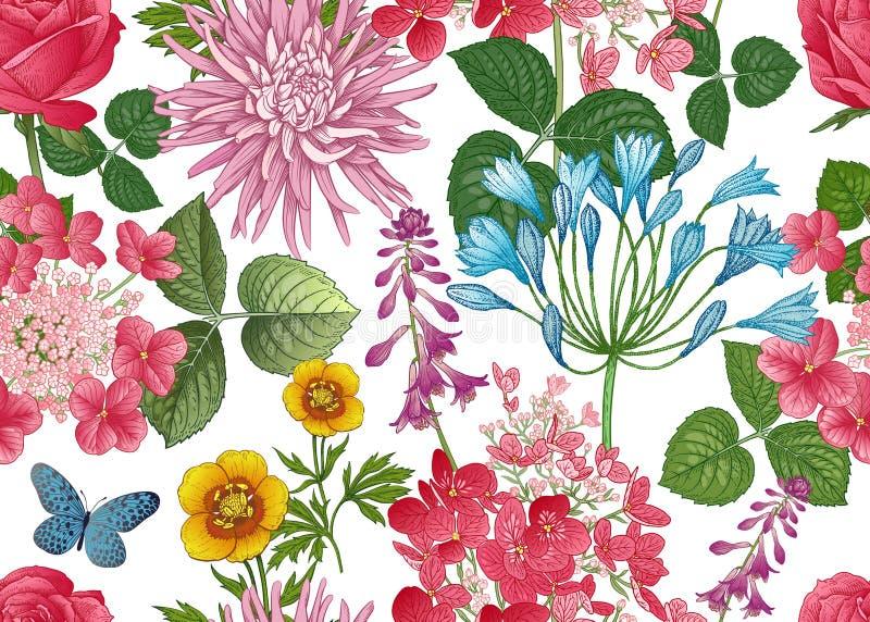 Bezszwowy tło z dzikimi kwiatami tło biel kwiecisty deseniowy ilustracji