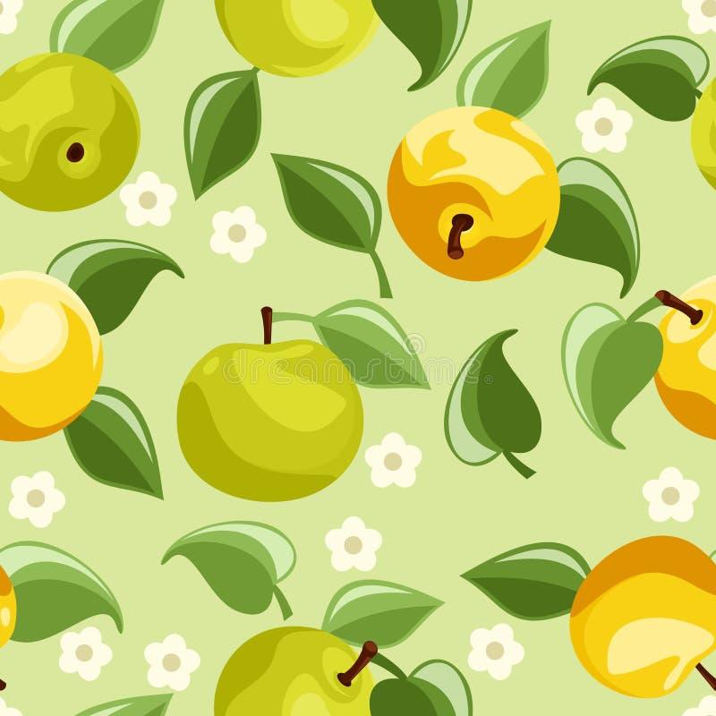 Bezszwowy tło z jabłkami. ilustracja wektor