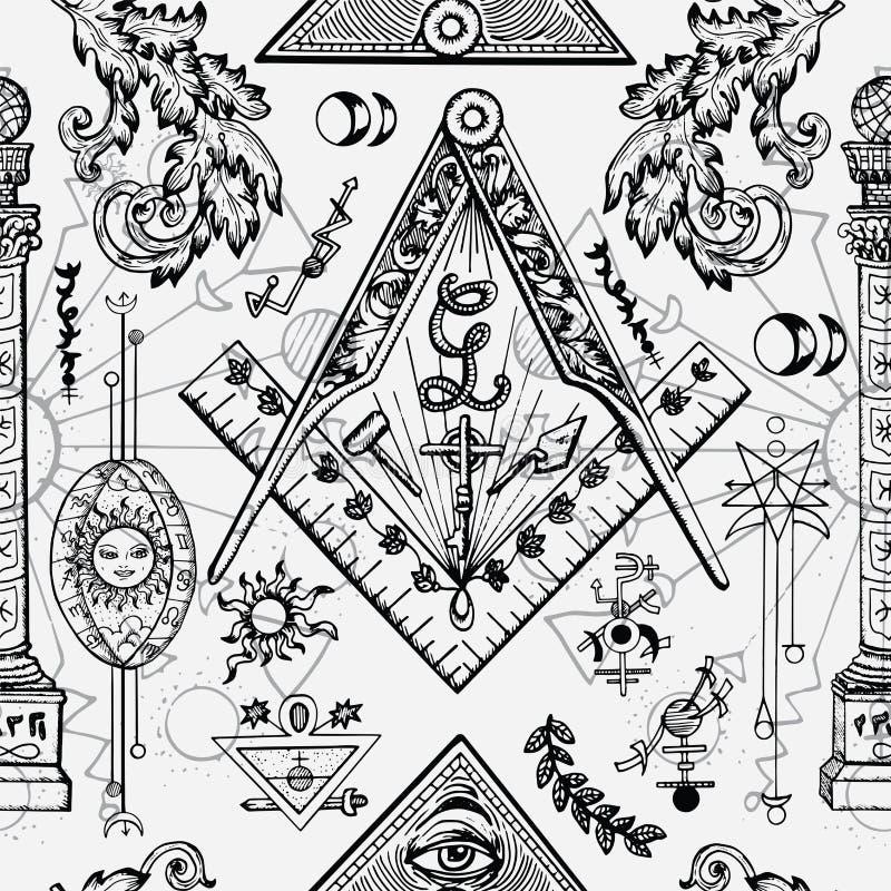 Bezszwowy tło z kamieniarzem i tajemniczymi symbolami ilustracja wektor