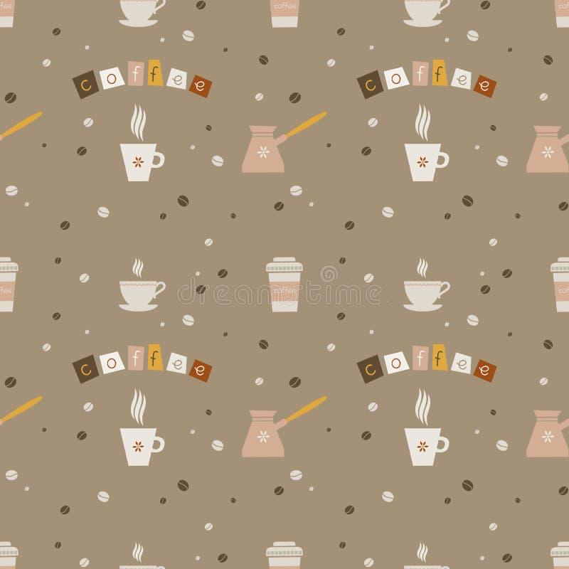 Bezszwowy tło z kawowymi napojami ilustracji