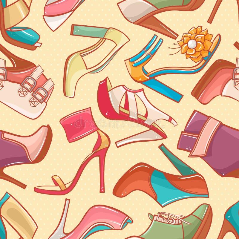Bezszwowy tło z kobieta butami - 2 ilustracja wektor