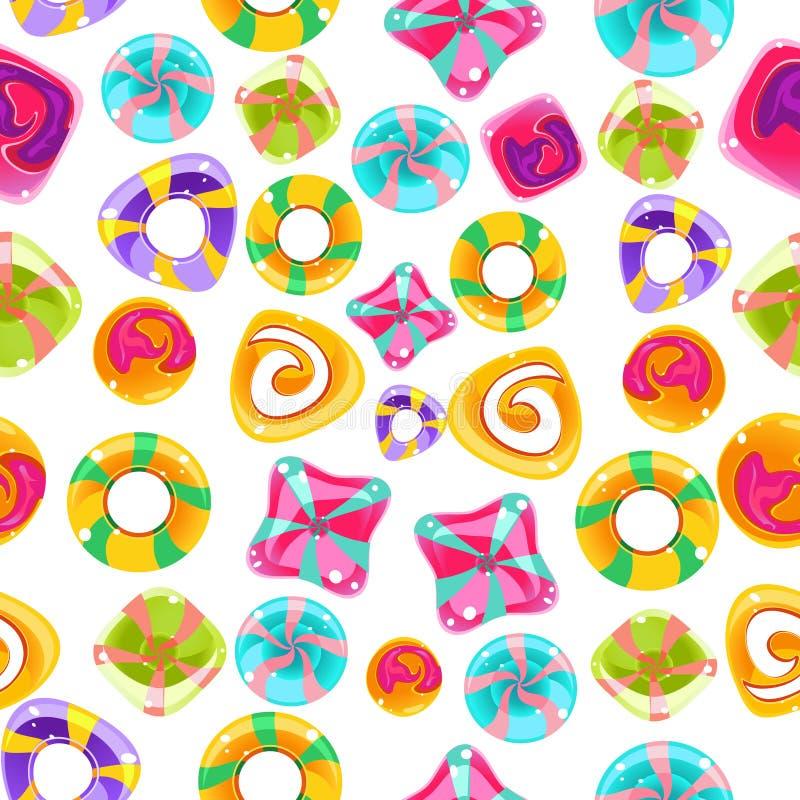 Bezszwowy tło z kolorowymi cukierkami na a ilustracja wektor
