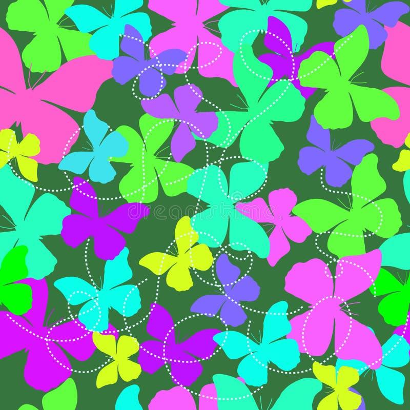 Bezszwowy tło z kolorowymi motylami - ilustracja obraz royalty free