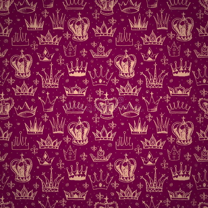 Bezszwowy tło z koronami royalty ilustracja