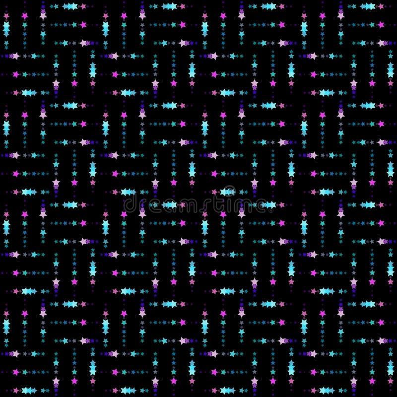 Bezszwowy tło z małej i wielkiej skali gwiazdami Powtórka, niekończący się wzór z błyszczący neonowym błyska ilustracja wektor