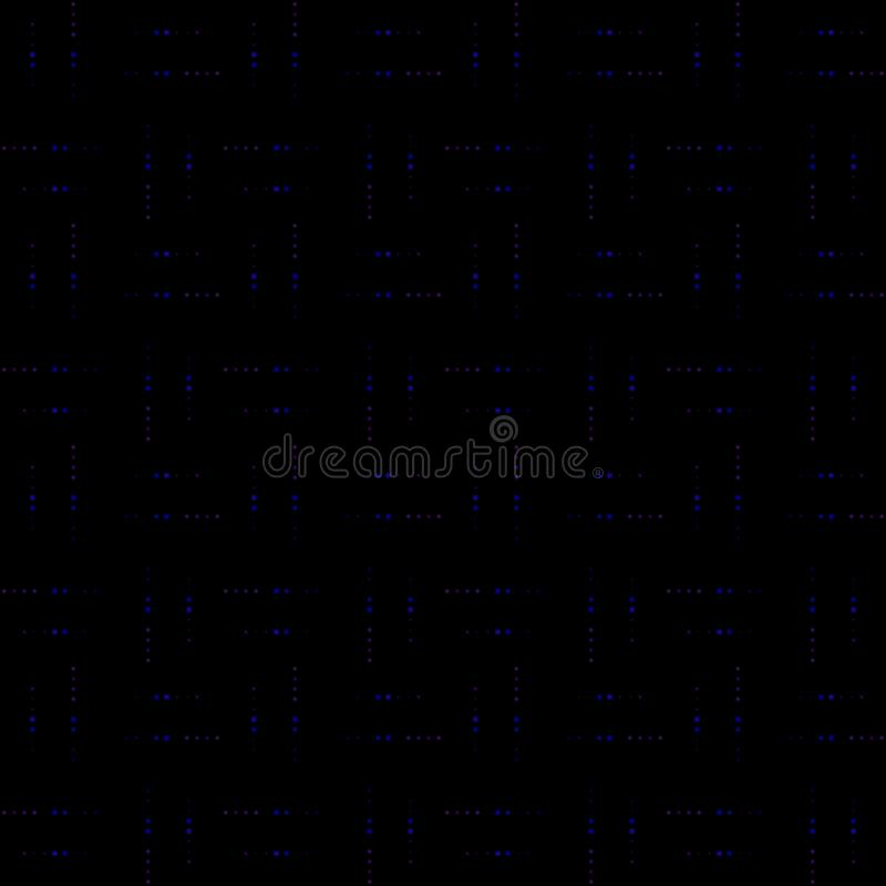 Bezszwowy tło z małej i wielkiej skali gwiazdami Powtórka, niekończący się wzór z błyszczący neonowym błyska ilustracji