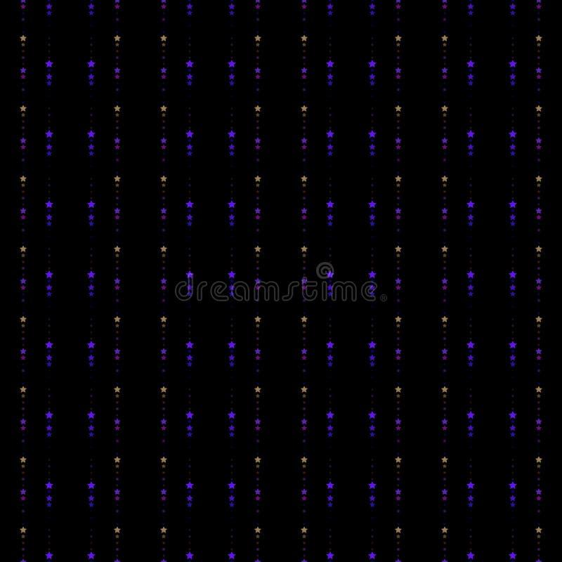 Bezszwowy tło z małej i wielkiej skali gwiazdami Powtórka, niekończący się wzór z błyszczący neonowym błyska royalty ilustracja