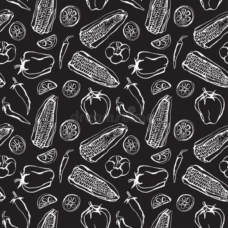 Bezszwowy tło z meksykańskim jedzeniem ilustracji