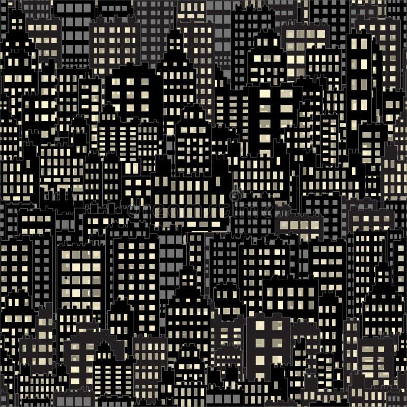 Bezszwowy tło Z miasto budynku nocą Zaświeca okno, czerń i zmrok, royalty ilustracja