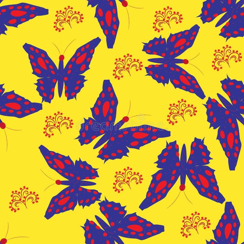 Bezszwowy tło z motylami i kwiatami na kolorze żółtym ilustracja wektor
