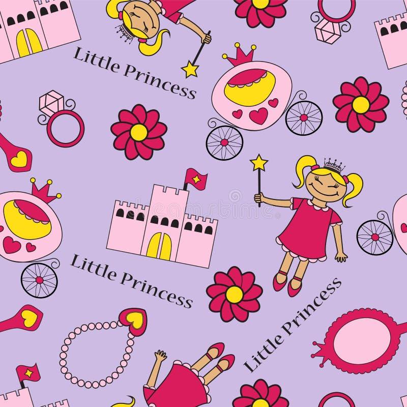 Bezszwowy tło z princess royalty ilustracja