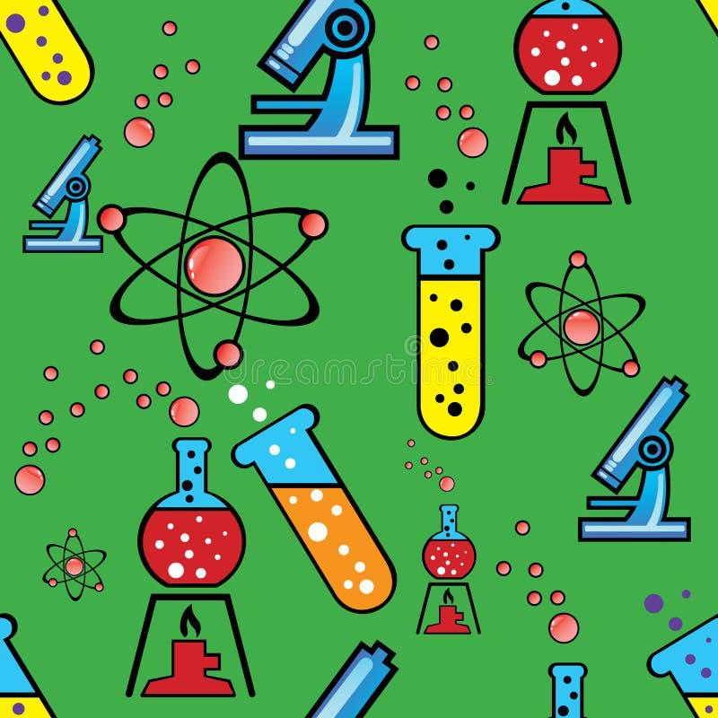 Bezszwowy tło z przedmiotami chemia ilustracji